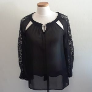 Jeasica Simpson Black Sexy Sheer Blouse w/ Lace
